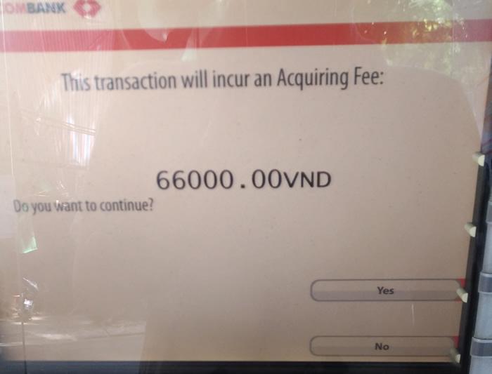 ベトナム 現地ATM 引き出し